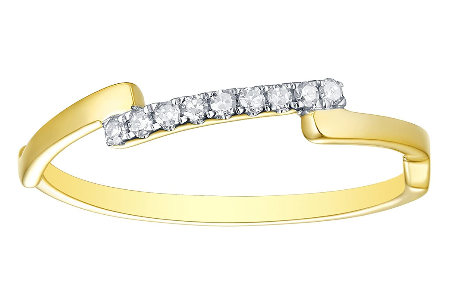 Goldenstar 0.08Ct G-H//I2 Natural Diamond Fancy Designer Ring