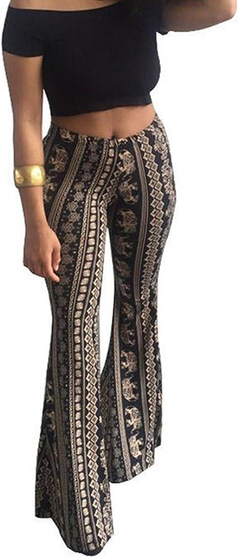 Faithtur Womens High Waist Wide Leg Long Palazzo Bell Bottom Yoga Pants