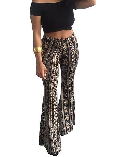 8f8880321e Amazon.com: Faithtur Women's High Waist Wide Leg Long Palazzo Bell Bottom Yoga  Pants: Clothing