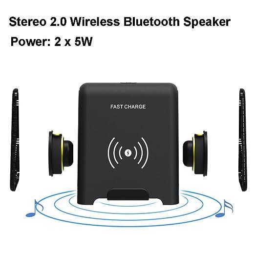 Sinbow Qi Cargador Inalámbrico Rápido Stereo Bluetooth Speaker 4.1 Voz Clara 10W Carga Rápida para Samsung Galaxy S9 / S9 Plus/Note 8 / S8 / S8 Plus ...