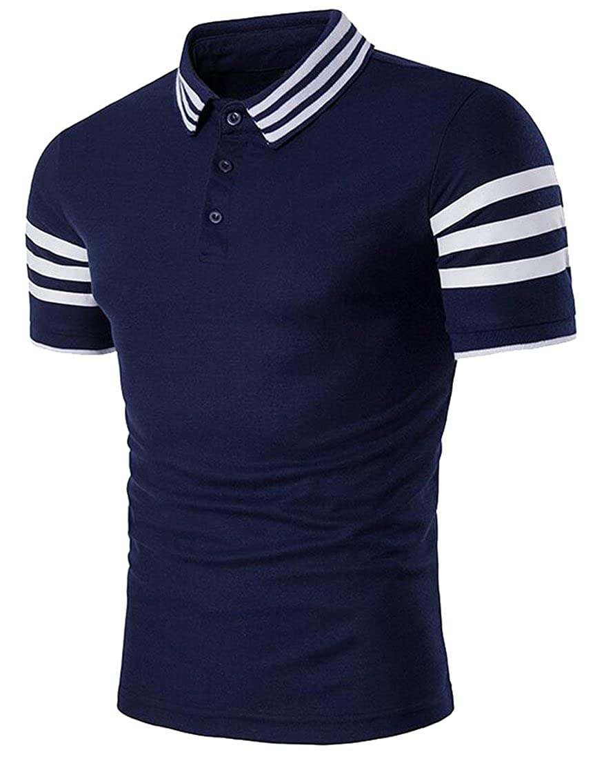 YYG-Men Vogue Short Sleeve Color Block Polo Shirt Tee Top