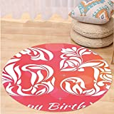 VROSELV Custom carpet65th Birthday Decorations Greeting Card Inspired Design with Decorative Font Swirls for Bedroom Living Room Dorm Pink Orange White Round 79 inches