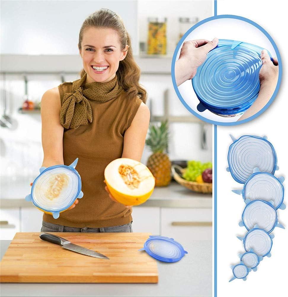 3//6Pc Réutilisable Silicone Joint Bol Couvercle Aliment Frais Wrap Anti-Déversement Couvercle Bouchon