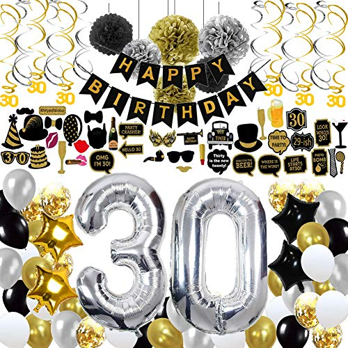 30th Birthday Decorations,30th Birthday Party Supplies include 123Pcs Silver Number 30 Balloons Banners Hanging Swirls Paper Pompoms Pentagram Balloons Multicolored Balloons Color Ribbon Balloon Straw for Girls Boys Women Men -