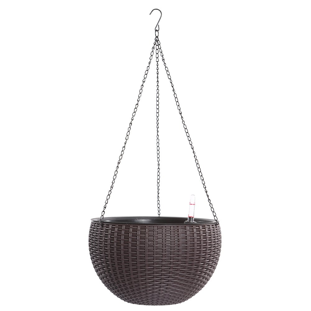 Hanging Planter, Dia 10.4 in Round Resin Self-Watering Hanging Basket for Indoor/Outdoor, Garden Plant Planter Hanging Decor Pot(Brown)