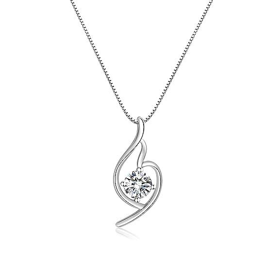 Platinum Italian designed PURE SILVER GREATEST LOVE Heart Pendant Necklace