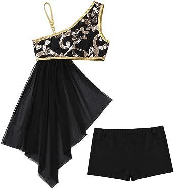 JEATHA Kids Girls Shiny Sequins One Shoulder Top Side Waist Lyrical Dancewear with Tight Shorts Modern Dance Skirt