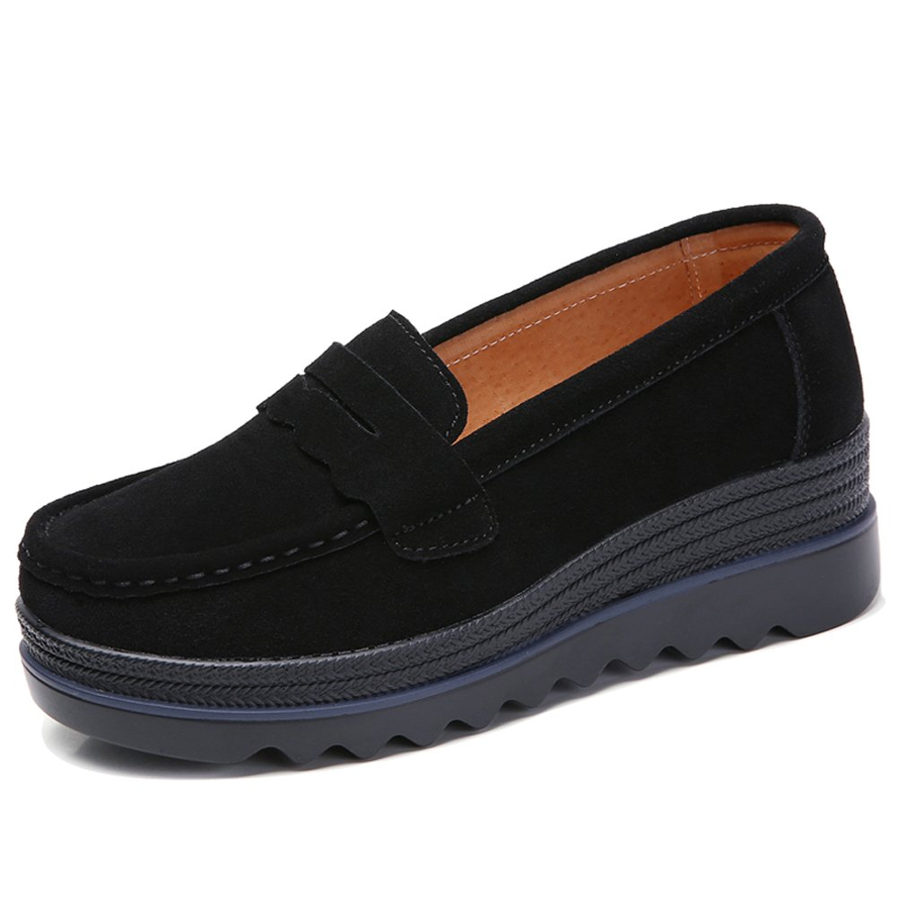 c2a2cb9badf HKR Womens Wide Platform Shoes Casual Slip On Penny Loafers Comfortable  Wedge Sneakers Black US 7.5 MH8775heise39