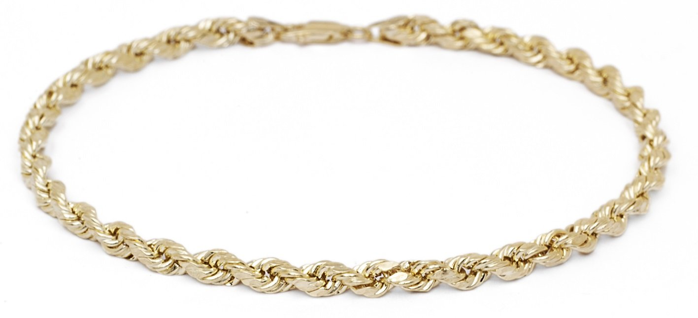 10 Inch 10k Yellow Gold Solid Diamond Cut Rope Chain Bracelet and Anklet for Men & Women, 2.5mm (0.1'')