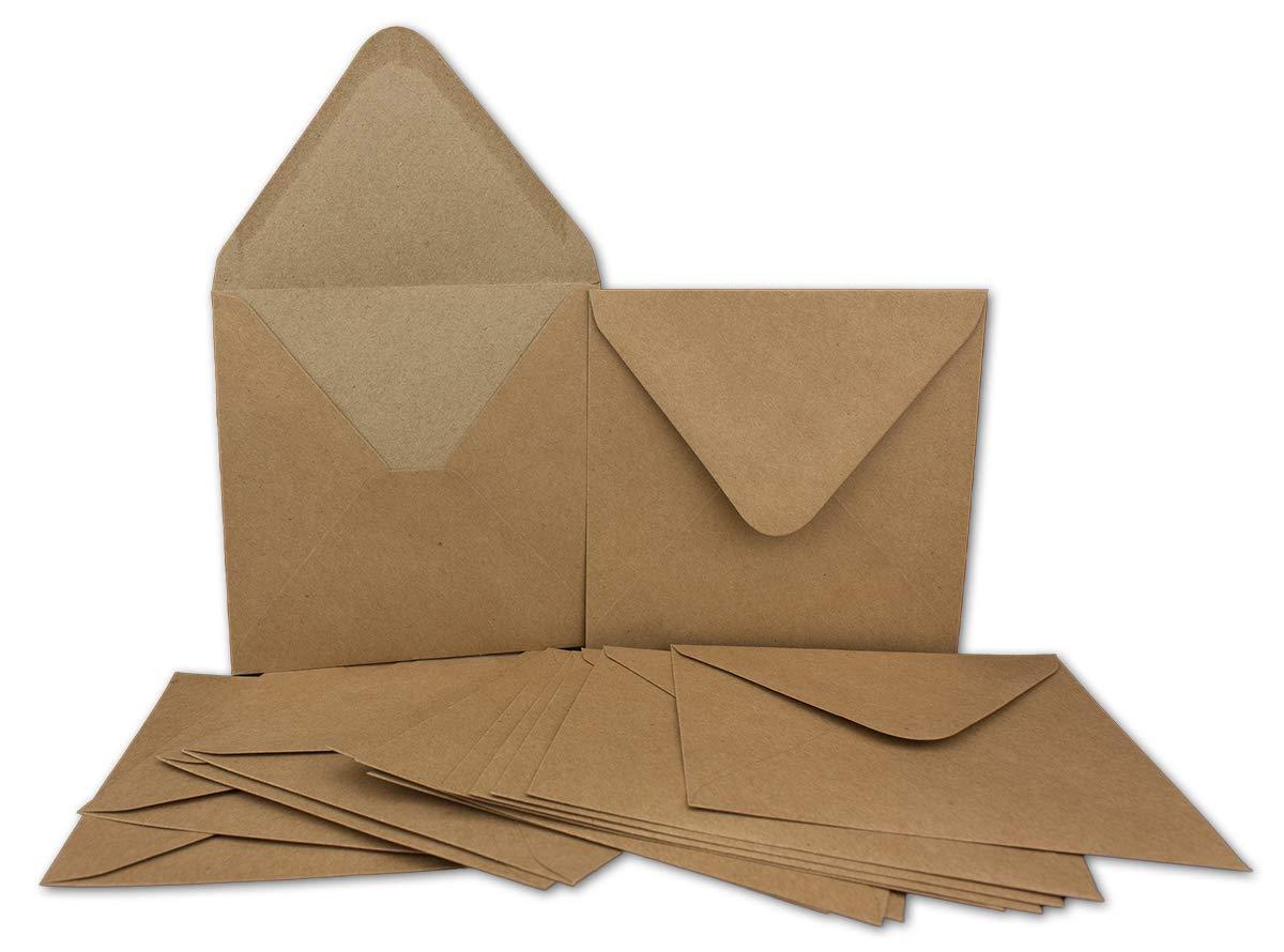 150 Kraftpapier-Karten Set Set Set Quadratisch Falt-Karten Natur-Braun 13,5 x 13,5 cm - 220 g m² mit Brief-Umschlägen Quadratisch 14 x 14 cm - 90 g m² Naturbraun (Kraftpapier) B07GGP9WKF | Spielzeug mit kindlichen Herzen herstellen  3e5219
