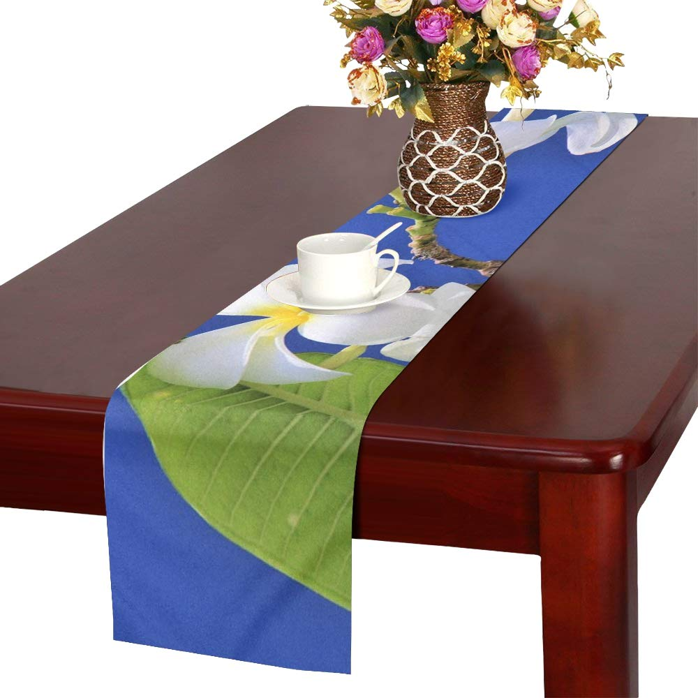 Blue Sky Maldives Nature Flower Plant Paradise Table Runner, Kitchen Dining Table Runner 16 X 72 Inch For Dinner Parties, Events, Decor