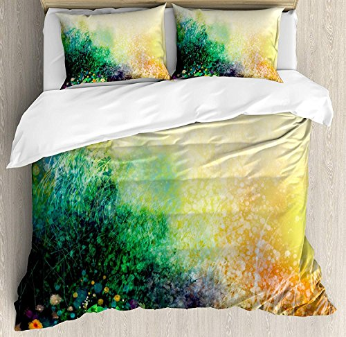 - Lightweight Microfiber Duvet Cover Set with Zipper Closure Flower Vibrant Colored Flower Bed on Valley in Fall Season with Shady Faded Murky Print Printed Bedding Collection Green Mustard, Full