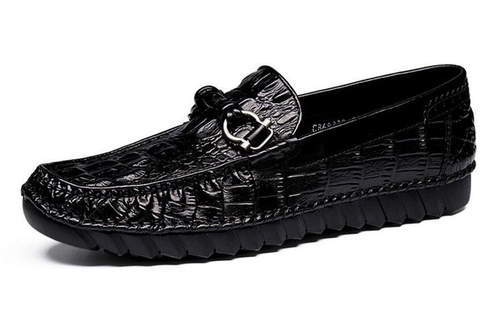 Men Slip-On Oxford Loafer Shoes Men Shoes Crocodile Pattern Layer Of Leather Summer Breathable Casual Shoes ( Color : Black , Size : 39 )