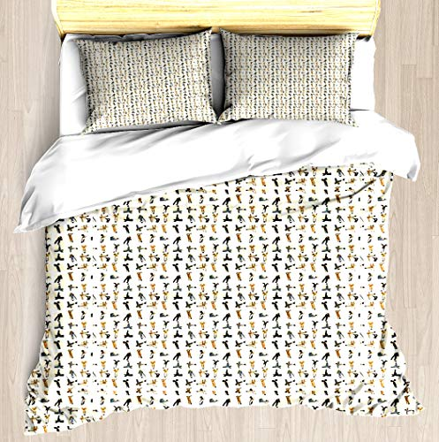 NTCBED Heads up: Cream - Duvet Cover Set Soft Comforter Cover Pillowcase Bed Set Unique Printed Floral Pattern Design Duvet Covers Blanket Cover King/Cal King Size