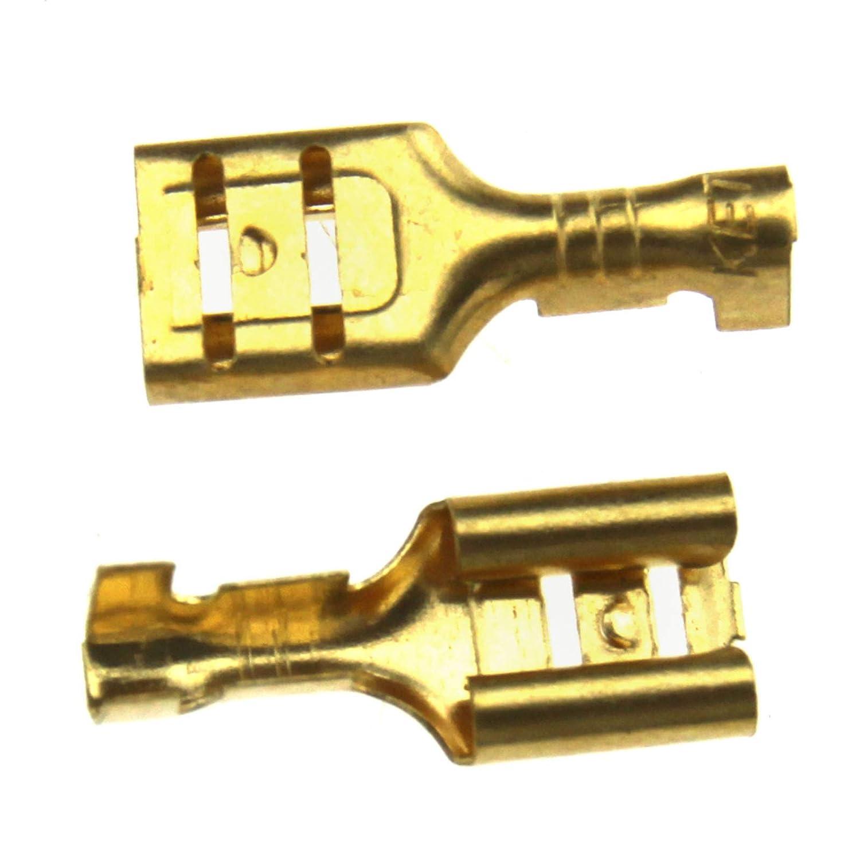 D2D Cosse Electrique Laiton 6.3mm Femelle Connecteurs Crimp Terminaux Clear Protect Case 100pcs