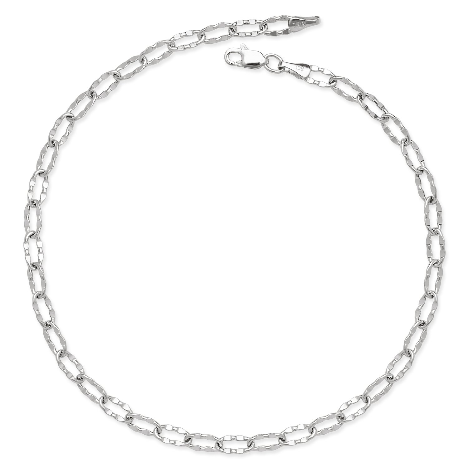 14k Gold 10-inch Flat Hammered Oval Link Chain Anklet (yellow or white) (white-gold)