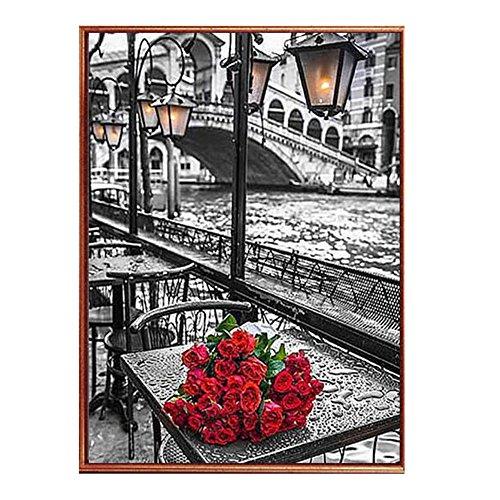 Anself DIY Handmade Diamond Painting Set Roses River Resin Rhinestone Pasted Cross Stitch for Home Decoration 30*45cm