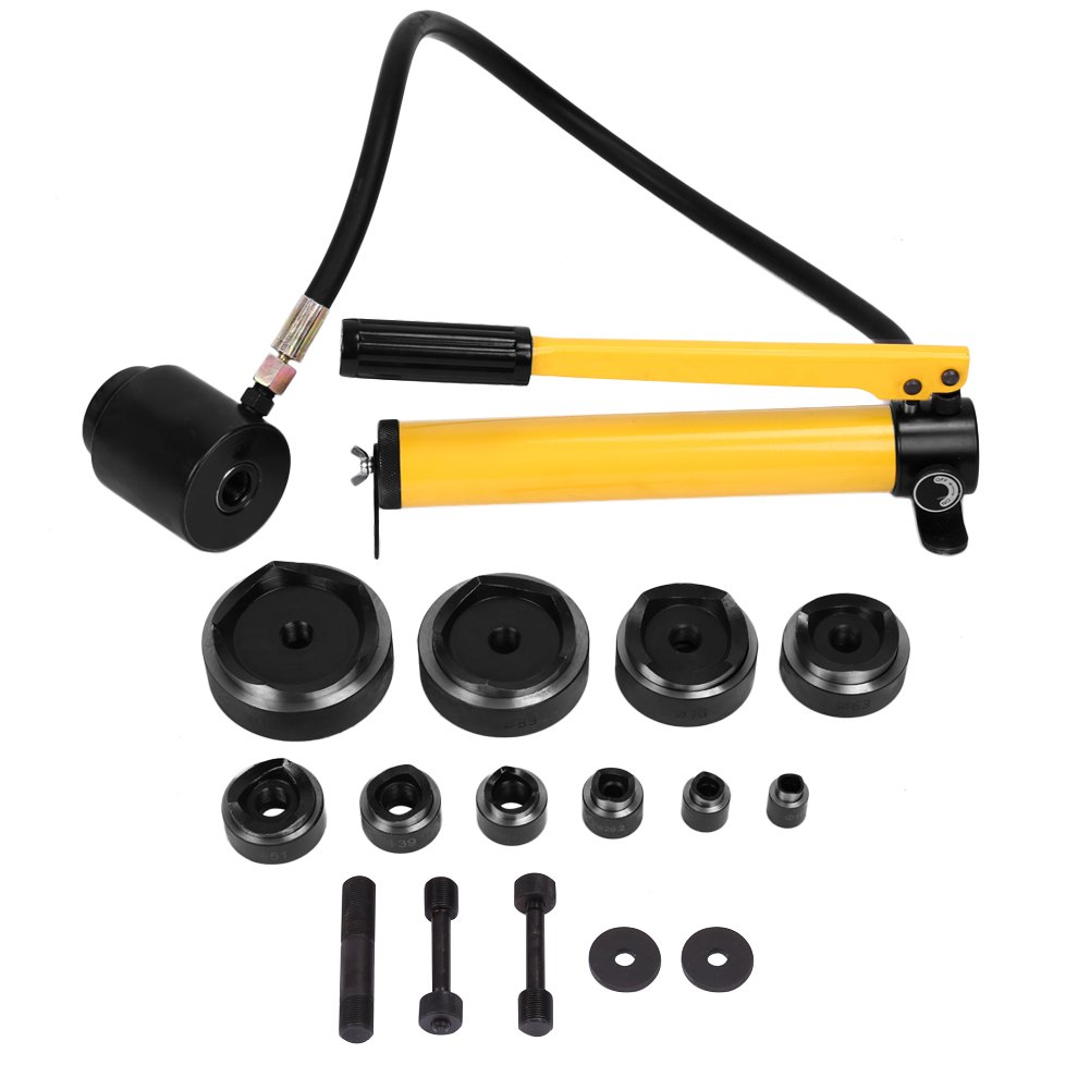 Hole Cutter Complete Tool,15 Ton 1/2'' to 4'' Hydraulic Knockout Punch Drive Kit Hole Complete Tool Set with Metal Case 10 Dies