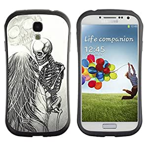 Fuerte Suave TPU GEL Caso Carcasa de Protección Funda para Samsung Galaxy S4 I9500 / Business Style Love Couple Heart Funny Skeleton
