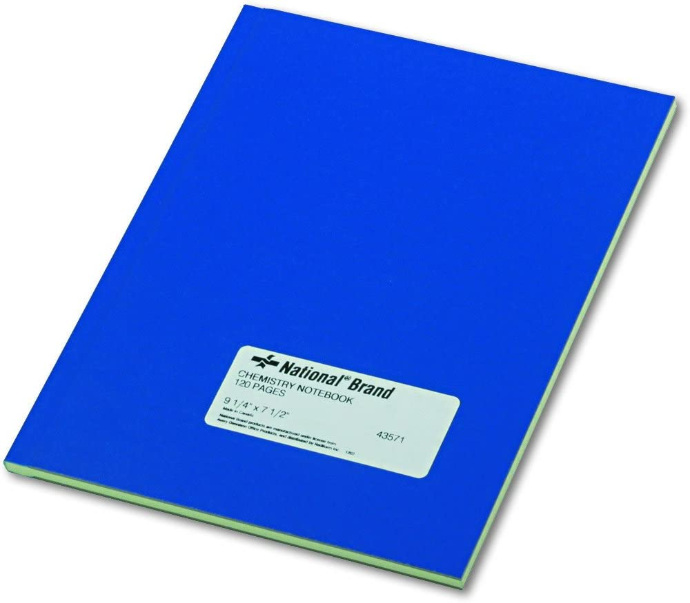 National 43571 Chemistry Notebook, Narrow Rule, 9 1/4 x 7 1/2, Green, 60 Sheets : Science Laboratory Notebooks : Office Products