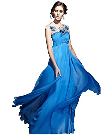 Elliot Claire London Chiffon Blue Prom Dress