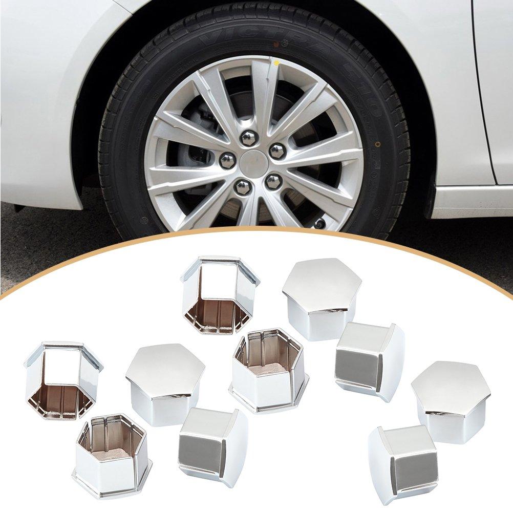 VORCOOL 10 Pcs Roue Cosse /Écrous Couvre Hexagonal Boulons Couvre Vis Prot/éger Caps pour Peugeot 307 308 408 206 207 C4L C5 Argent