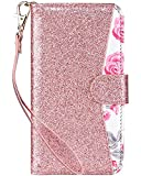 ULAK iPhone 8 Case Wallet, iPhone 7 Wallet Case,[ Glitter Sparkly PU Leather Series ] Flip Multi Credit ID Card Holders Pockets Folio Magnetic Closure Cover, Rose Gold