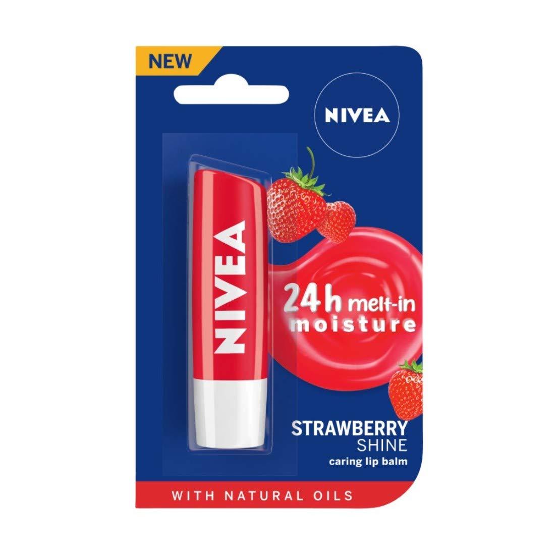 NIVEA Lip Balm, Strawberry Shine, 4.8g