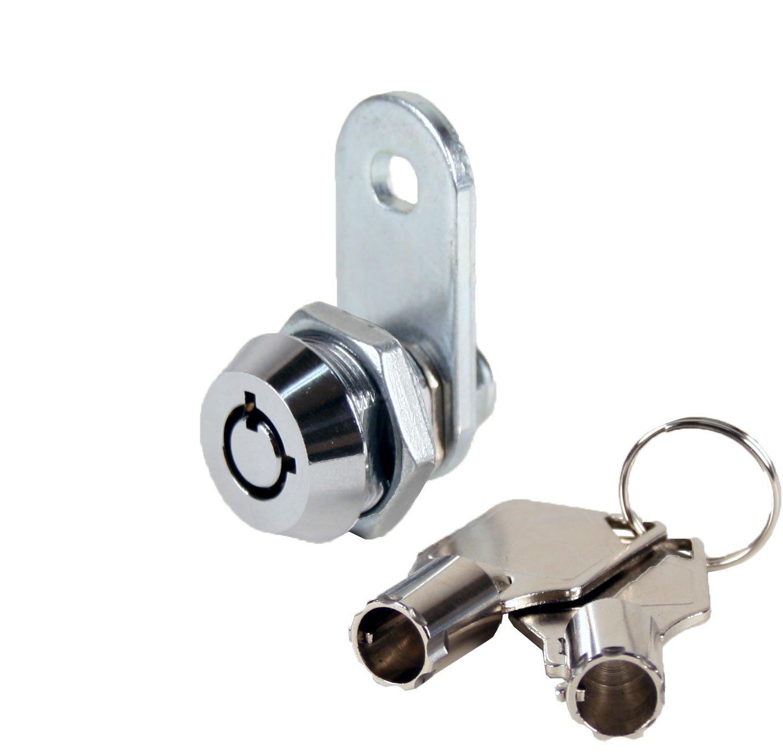 FJM Security 2400AXS-KA Tubular Cam Lock with 3/8'' Cylinder and Chrome Finish, Keyed Alike