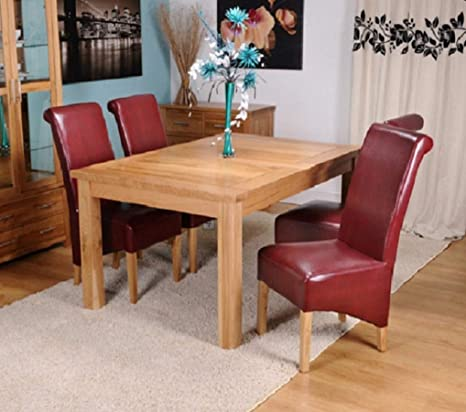 Strange Kelsey Stores Solid Oak Extending Dining Table Six Bonded Leather Dining Chairs Oak Legs Solid Oak Dining Sets 6 Red Burgundy Leather Chairs Caraccident5 Cool Chair Designs And Ideas Caraccident5Info