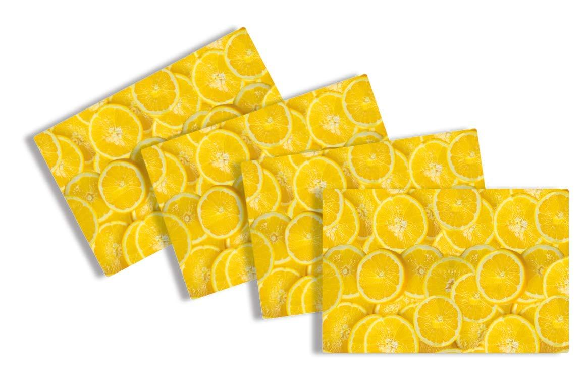 4 Unidades, 45 x 30 cm, Lavables, Antideslizantes, Resistentes a los ara/ñazos, Aptos para Alimentos Herma 15571 Fresh Lemons Color Amarillo Manteles Individuales