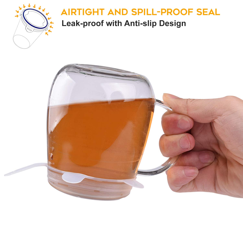 calidad premium Econic tapas el/ásticas reutilizables de silicona para guardar alimentos sin BPA ampliables para adaptarse a varios contenedores con forma de Odd 6 unidades