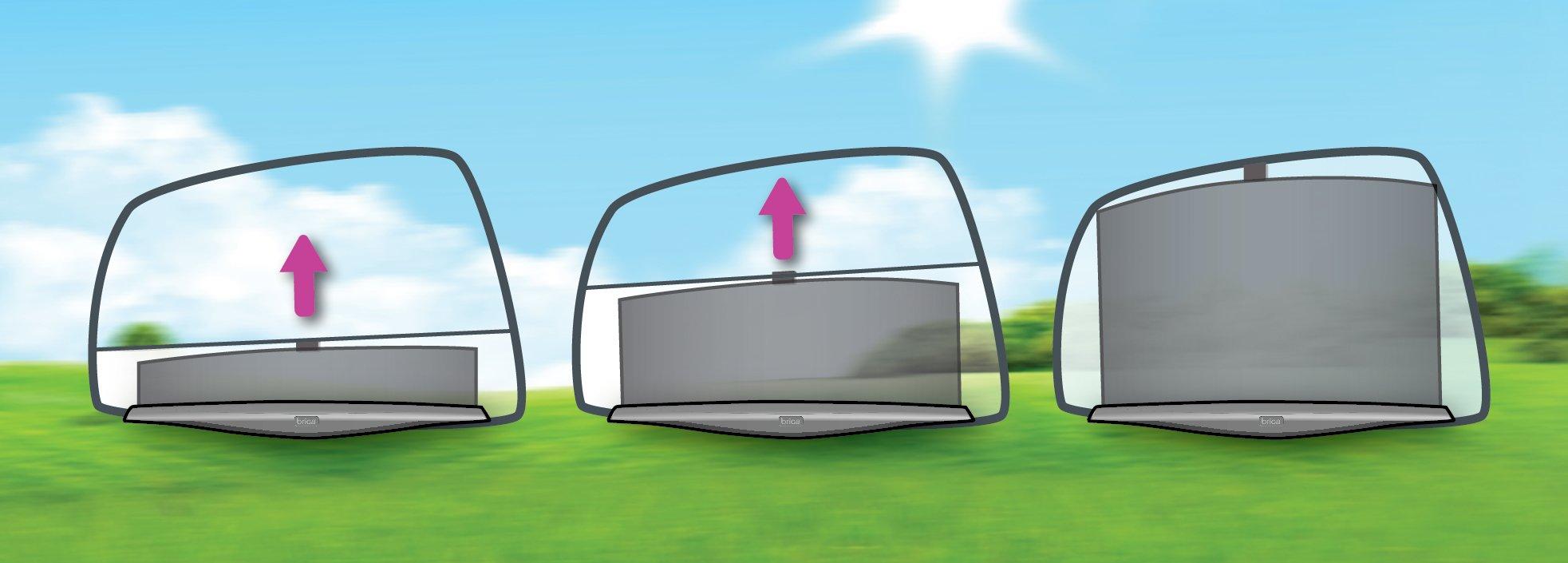 Munchkin Brica Smart Window Shade Rolls Up and Down with Window, Helps Block UVA/UVB Rays, Black by Munchkin