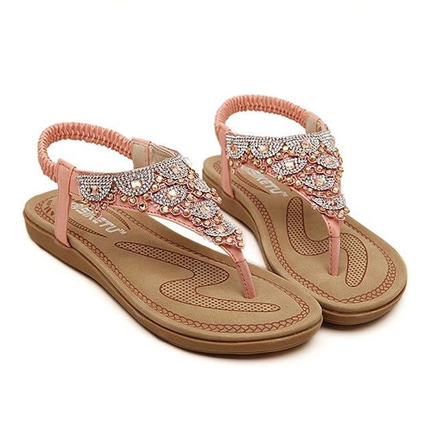 Ouneed® Damen Sandalen , Damen Sommer Boehmen glitzer Bling Diamond Rhinestone Art- und Weiseflache große Größen beiläufige Sandelholz Strand Schuhe (38, Rosa)
