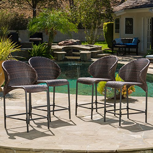 Bennett Multi-brown Wicker Counter Stool (Set of 4) (Patio Height Bar And Counter Sets)