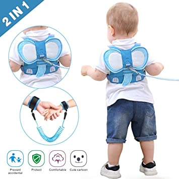 Toddler Anti Lost Safety Harness Cute Child Walking Leash for Boys Girls to Disneyland Blue Mall or Zoo Idefair Kids Leash and Wrist Link Set