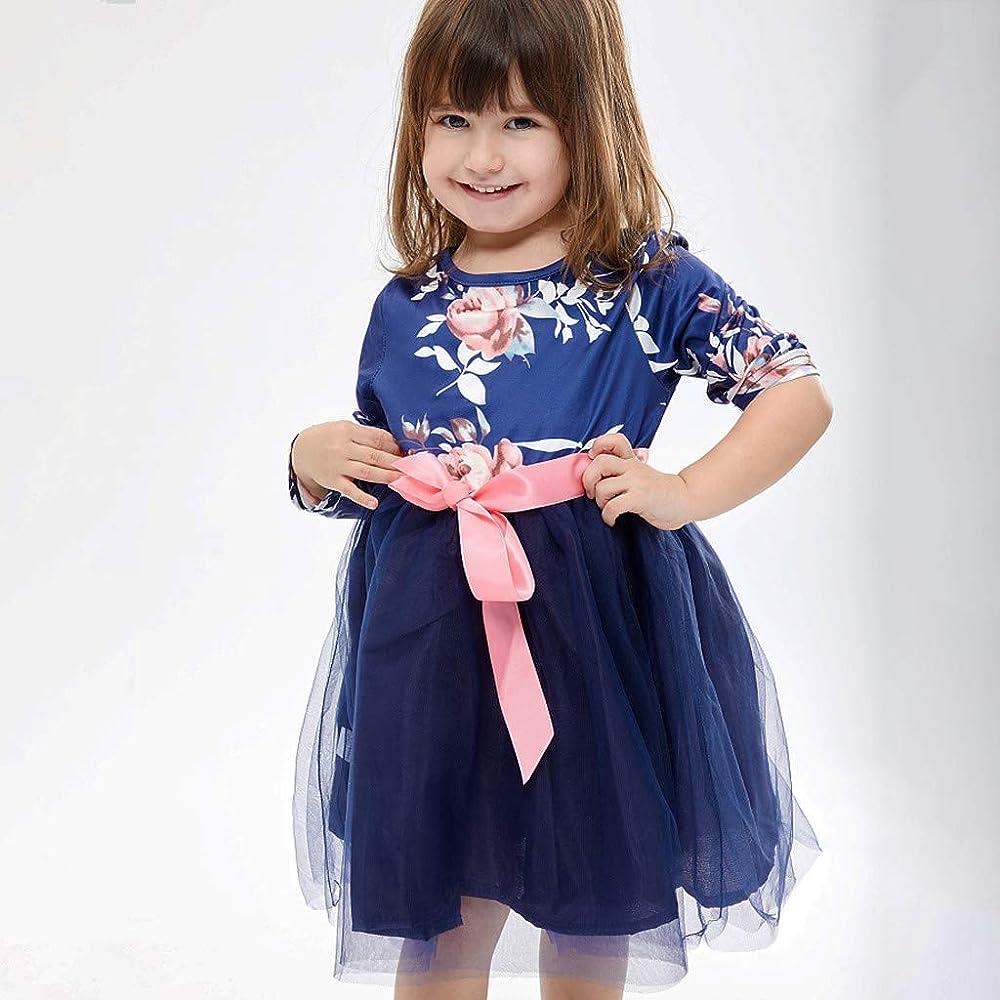 MAYOGO Vestido Bebe Niña Otoño Manga Larga Estampado Flores Tutú ...