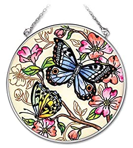 Amia 4-1/2-inch Circle Hand-painted Glass Suncatcher, Le Jardin Butterfly, Medium