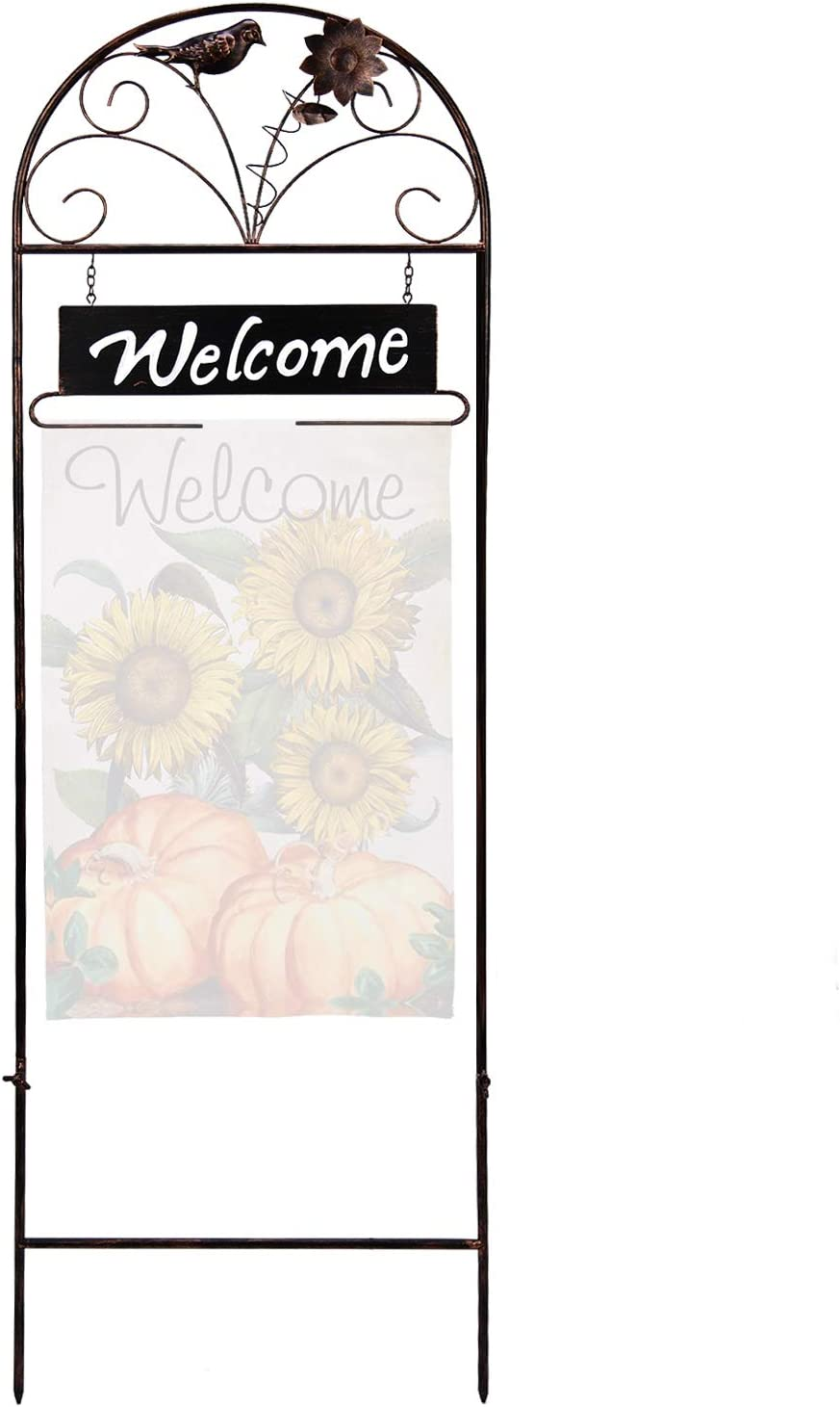 YEAHOME Garden Flag Arbor Stand - Weather-Proof Flag Holder for Yard with Welcoming Sign, Sturdy Copper Painted Metal Stakes, Iron Bird and Flower Decor Stand for St Patricks Day Easter Garden Flag