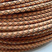 TheTasteJewelry 3mm Braided Genuine Light Brown Leather Cord Rope Jewelry Making 45m String - 3591