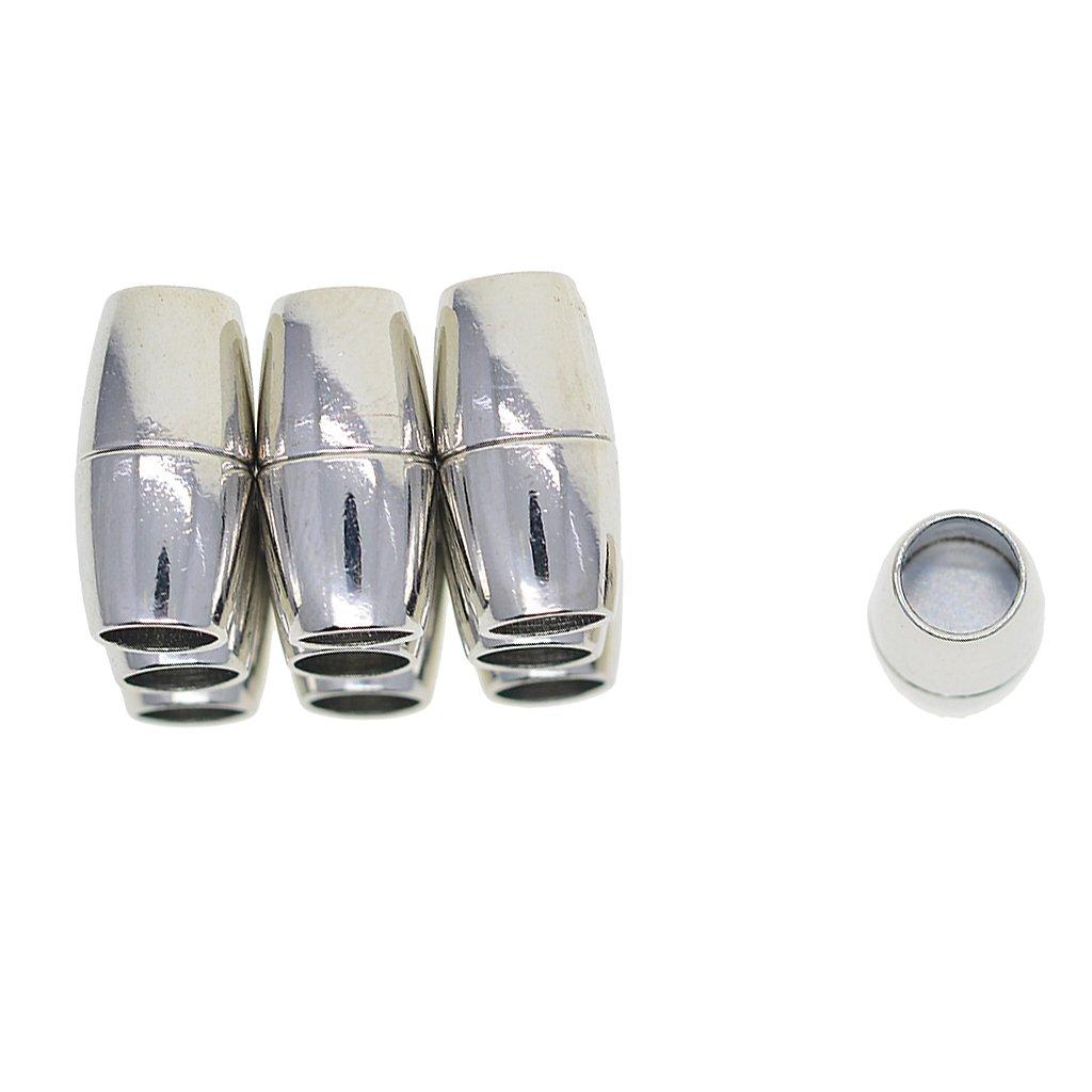 Homyl 10pcs Fermoirs Magn/étiques en Cuivre Anti-Coloration Baril Connecteur de Kumihimo Bijoux Bracelet Collier 4mm
