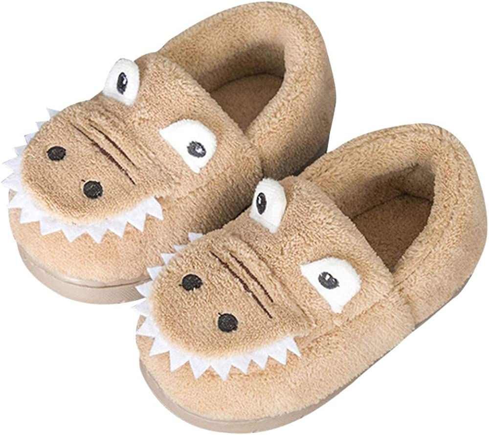 Maybolury Girls Boys Home Slippers Kids Warm Dinosaur House Slippers Fur Lined Winter Indoor Shoes