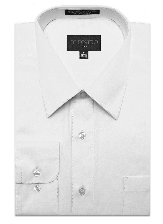 JC DISTRO Men's Regular Fit Dress Shirt w/Pocket 19-19.5 Neck-34/35Sleeve (3XL) White