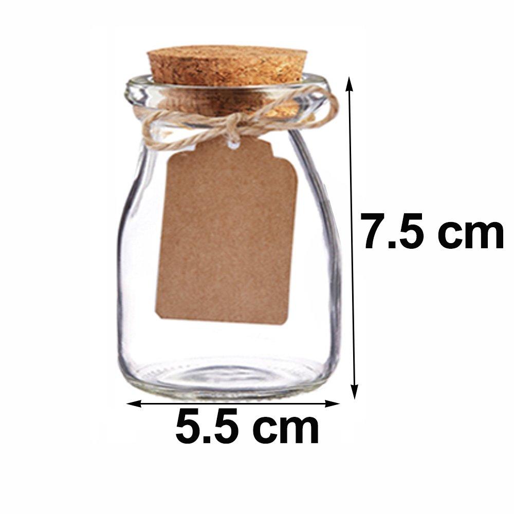 Awtlife 12pcs Tarro de Cristal del Favor de la Vendimia con Las Tapas de Corcho para la Boda Favor de la Ducha del bebé: Amazon.es: Hogar