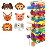 GYBBER&MUMU 60 Piece Colored Wooden Blocks Stacking Board Games with 1 Wood Hammer &1 Dice & 1 Storage Bag
