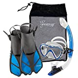 Seavenger Diving Dry Top Snorkel Set with Trek Fin, Single Lens Mask and Gear Bag, XS/XXS - Size 1 to 4 or Children 10-13, Gray/Clear Blue