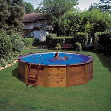 GRE - Piscina circular Modelo HAWAII con revestimiento de madera: Amazon.es: Jardín