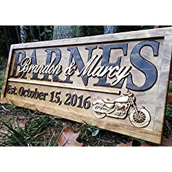 Personalized Motorcycle Gifts Motorcycle Wedding Sign Harley Davidson Sign Personalized Couples Gift Wood Family Name Custom Last Name Sign