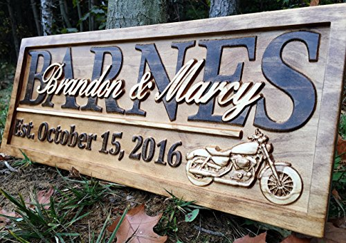 cle Gifts Motorcycle Wedding Sign Harley Davidson Sign Personalized Couples Gift Wood Family Name Custom Last Name Sign ()