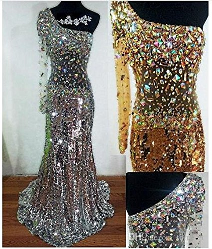 Banquet Ballkleid Silber Diamant Pailletten One Damen Shoulder emmani wYqx7X6W